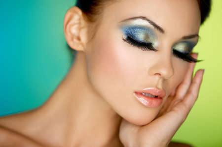 Portrait of sexy woman with outstanding makeup photo