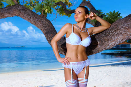 Beautiful and sexy woman in lingerie at Maldives photo