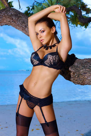 blue lingerie: Beautiful and sexy woman in lingerie at Maldives