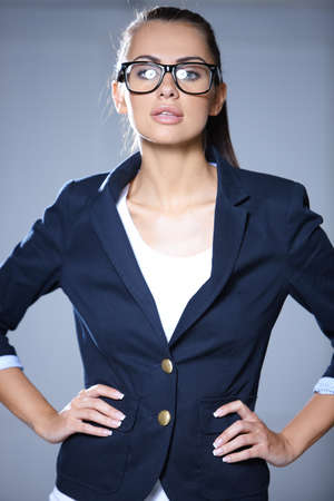 Portrait of beautiful business woman wearing glasses Stock Photo - 7366236