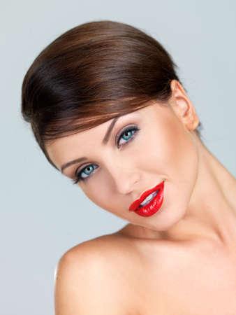 Portrait of beautiful woman, she has red lipstick Stock Photo - 7790659