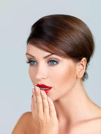 Portrait of beautiful woman, she has red lipstick Stock Photo - 7790719