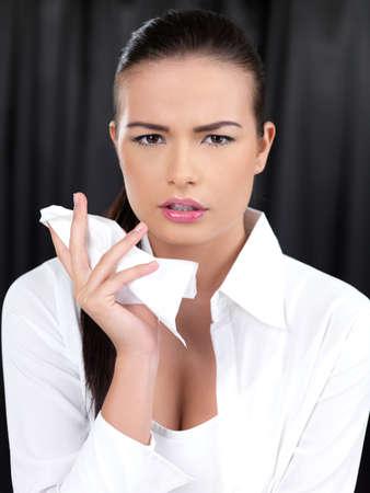 Portrait of beautiful woman with handkerchief photo