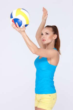 ballon volley: Femme avec ballon de volley