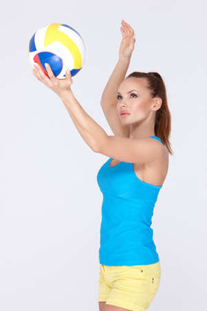 serve one person: Woman with volley ball