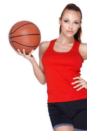 basketball girl: Mujer con bola de cesta