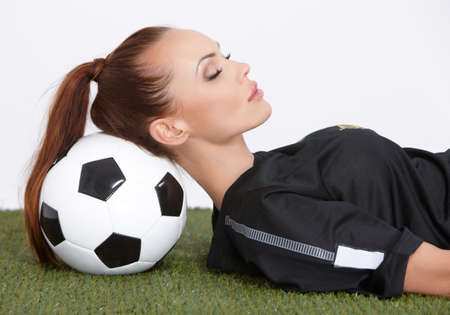 Woman with soccer ball Stock Photo - 10163862