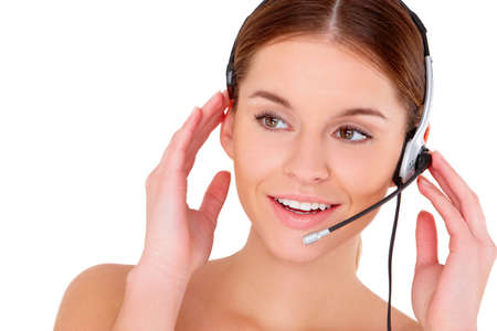 Portrait of beautiful young woman wearing headset on white Stock Photo - 11419069