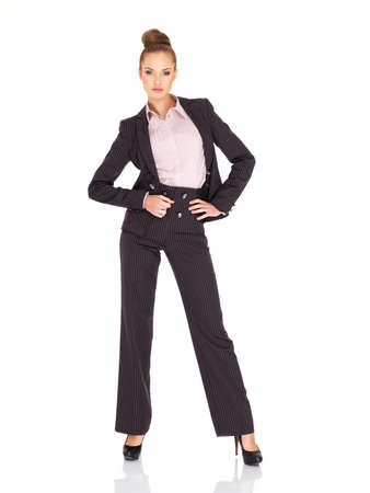 Fullbody business woman smiling isolated over a white photo