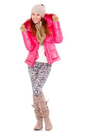Fashionable young woman wearing winter jacket scarf and cap Stock Photo - 12446939