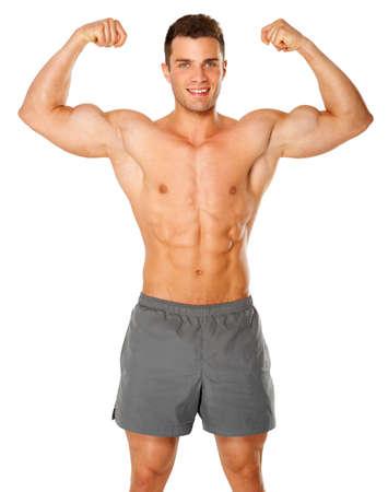 Fit l'homme et musculaire fléchissant son biceps sur fond blanc Banque d'images - 14036991
