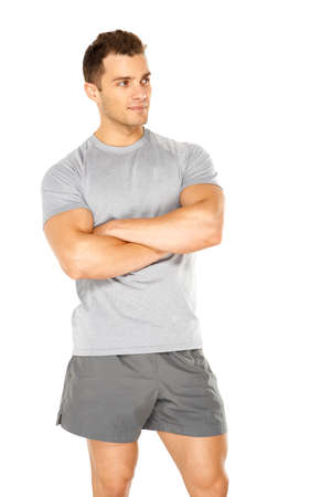 Healthy muscular young man. Isolated on white background photo