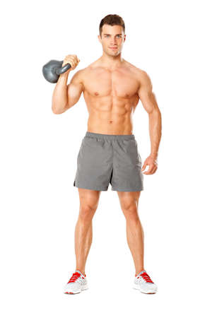 muscular body: Young muscular man lifting weights on white background Stock Photo
