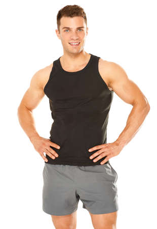 Healthy muscular young man isolated on white background