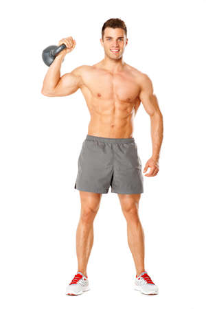 Full body of muscular man exercising with dumbbell on white background photo
