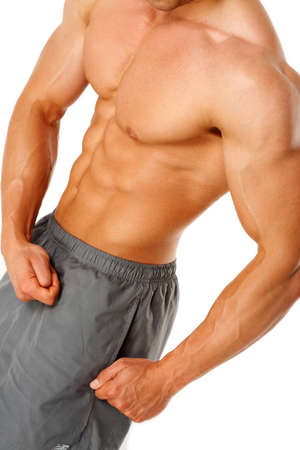 part body: Torso of young muscular man, isolated on white background