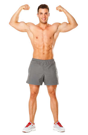 Full body of muscular man flexing his biceps on white background