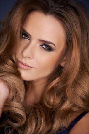 Close up portrait of beautiful woman with amazing haircut Foto de archivo