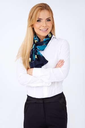 Portrait of a sexy blonde Caucasian woman wearing a fancy scarf Stock Photo - 17366550