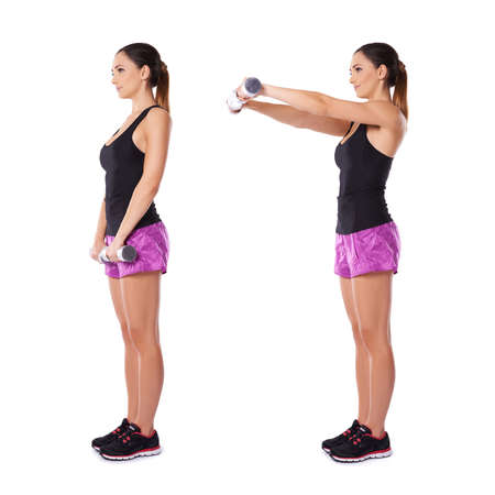 lowering: Young woman working with dumbbells shown in two positions standing sideways to the camera raising and lowering her arms in front of her
