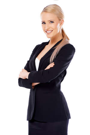 Cute smiling blond business woman on white background