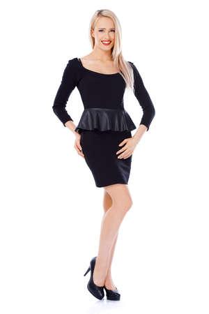 sexy woman standing: Adorable rubia sexy mujer de pie aislado en fondo blanco