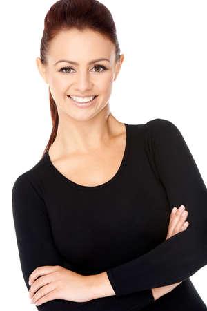 cabelo amarrado: Mulher confi Banco de Imagens