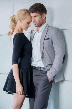 fashion shoot: Romantic Middle Age Lovers in Black Gray White Attire Fashion Shoot