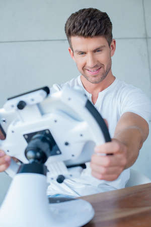 cool gadget: Handsome Middle Age Man Playing Cool Gadget