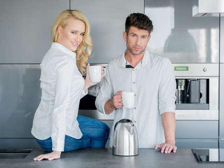 20 24: Couple enjoying a pot of freshly brewed coffee