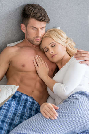 20 24: Romantic Lovers on Bed Fashion Shoot