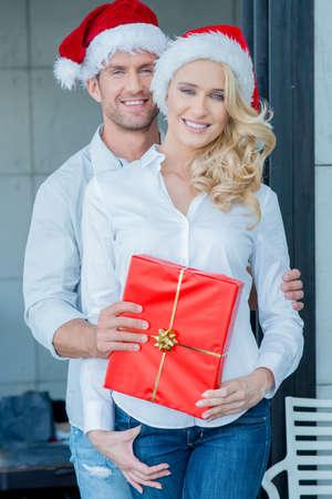 20 24: Beautiful happy couple on Christmas day