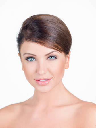 flawless: Portrait of Brunette Woman with Bare Shoulders Stock Photo