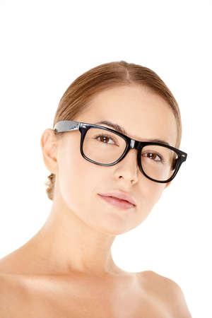 introspective: Portrait of Woman Wearing Eyeglasses Stock Photo