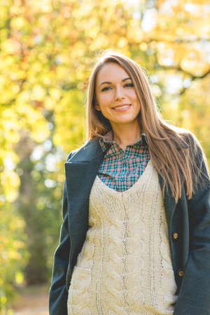 three layered: Smiling Pretty Young Woman in Three Layered Suit