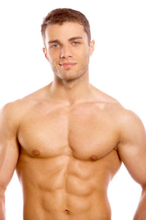 cuerpos desnudos: Hombre joven desnudo atractivo hermoso Foto de archivo