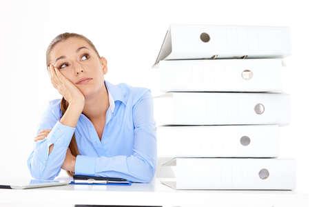 overwrought: Bored female employee on white background
