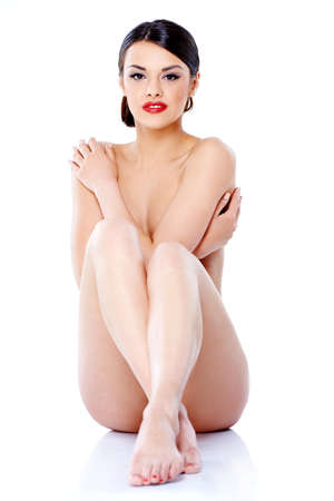 nude woman sitting: Naked Young Pretty Woman Sitting on Floor
