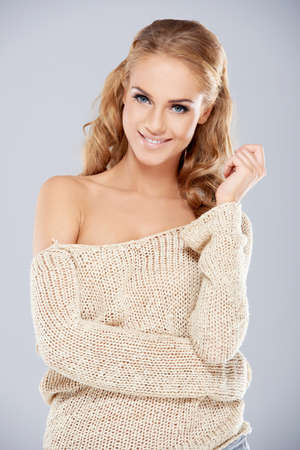 off shoulder: Attractive Smiling Woman in Off Shoulder Outfit