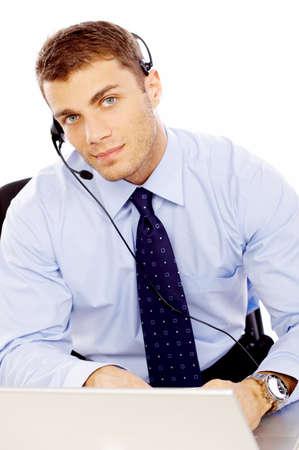 Attractive male call center operator photo
