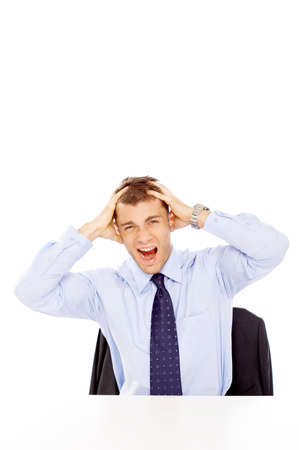 Frustrated businessman yelling photo