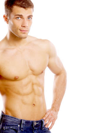 Handsome shirtless young man photo