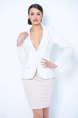 pencil skirt: Gorgeous Corporate Woman Showing Cleavage Stock Photo