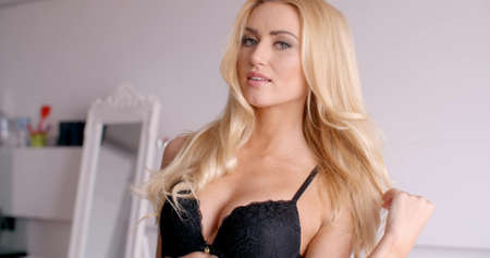 black bra: Sexy Female in Black Bra Looking at the Camera Stock Photo