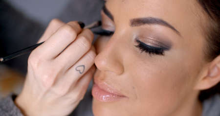 beautician: Beautician apply makeup to a model