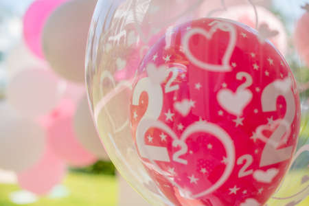 pink balloons: Garden Birthday Party Decoration With White and Pink Balloons