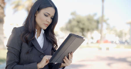 professional woman: Portrait of smiling business woman typing on digital tablet computer and sitting on bench in city park Stock Photo