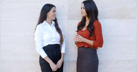 bilateral: Two elegant young businesswomen standing chatting outdoors in front of a white wall with bilateral copyspace  panoramic view Stock Photo