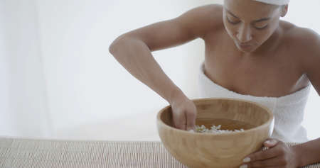 slow motion: Woman taking spa treatments and relaxation therapy. Slow Motion Shot.
