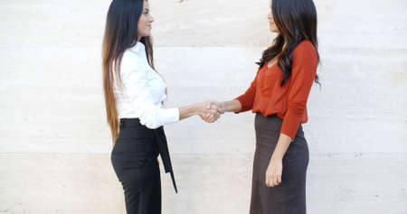 bilateral: Two stylish women standing in profile shaking hands outdoors in front of a white wall  bilateral copyspace